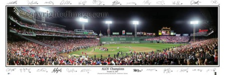 Fenway Park ALCS 2007 Panoramic Poster with Signatures Autographs