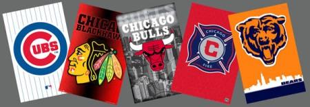 Chicago Sports 5-Poster Combination Gift Set - Bears, Fire, Cubs, Bulls,Blackhawks