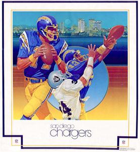 San Diego Chargers 1979 DAMAC Theme Art Poster by Chuck Ren