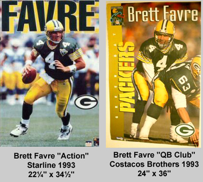 Brett Favre 1993 Starline and Costacos Brothers Posters