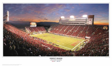 Utah vs. BYU 2008 Panoramic Poster Print - Rice-Eccles Stadium