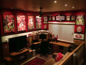 "The $100 winner of our 2013 ""Share your Fan Walls and Win"" contest - Herman Sahota's ""Niners Man Cave"""